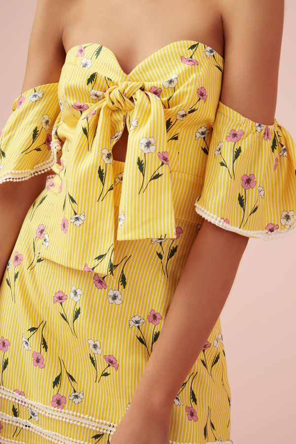 Designer Brand: Finders Keepers Product: Limoncello Strapless Mini Dress - Yellow Floral