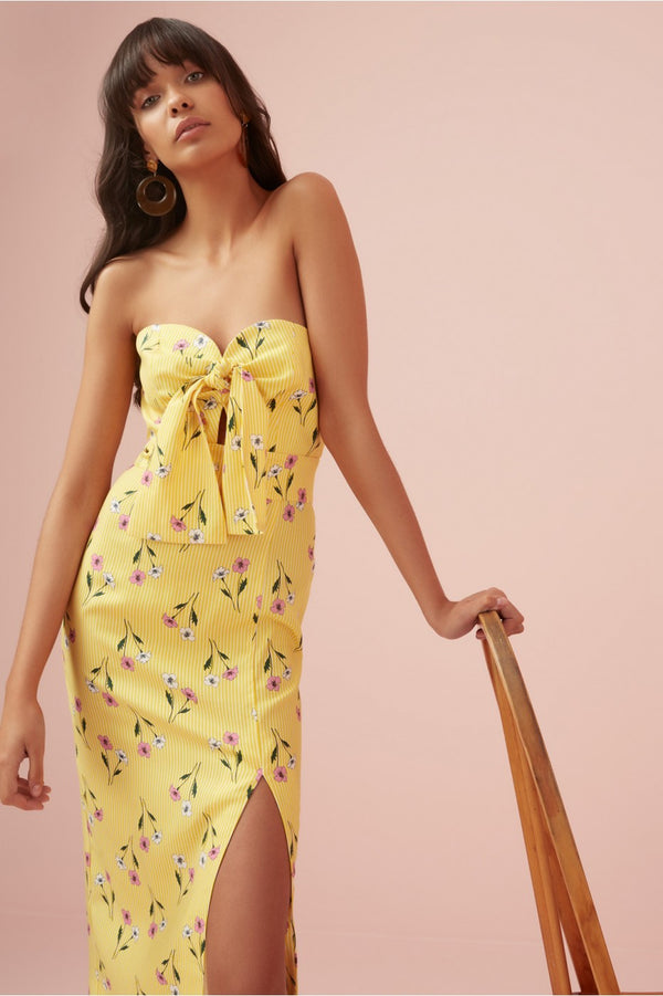 Designer Brand: Finders Keepers Product: Limoncello Strapless Dress - Yellow Floral