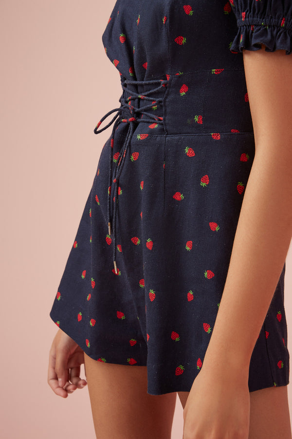 Designer Brand: Finders Keepers Product: Lola Playsuit - Navy & Strawberry