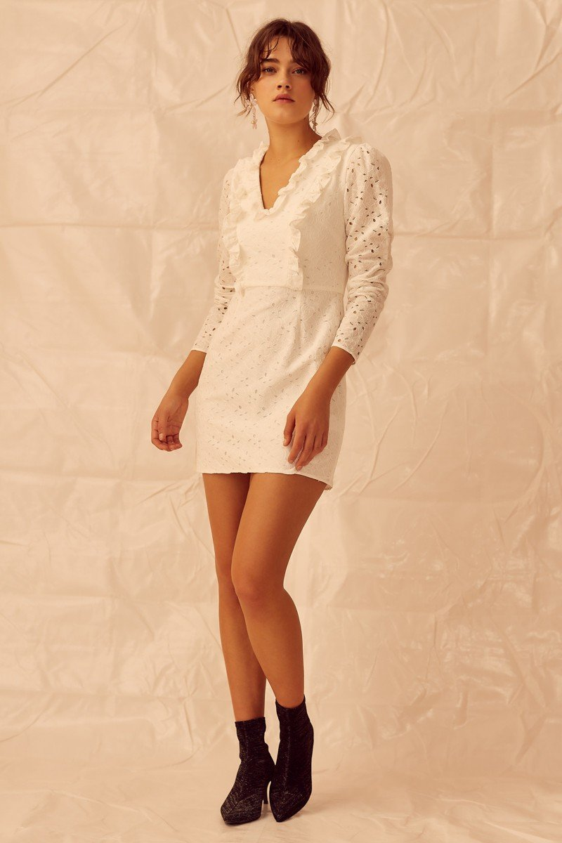 Designer Brand: Keepsake The Label Product: Keepsake Higher Lace Long Sleeve Mini Dress - White