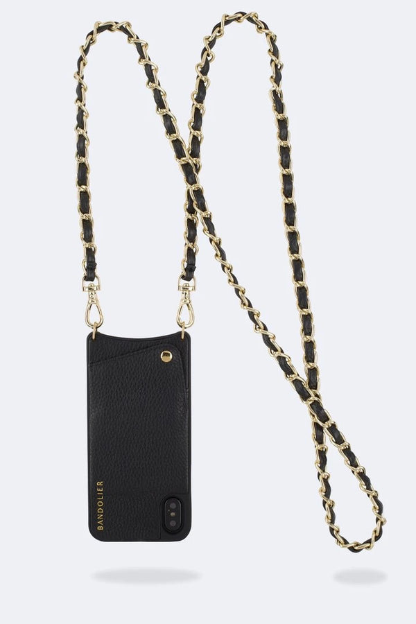Designer Brand: Bandolier Product: Bandolier Lucy Pebble Leather Strap Only Black/Gold
