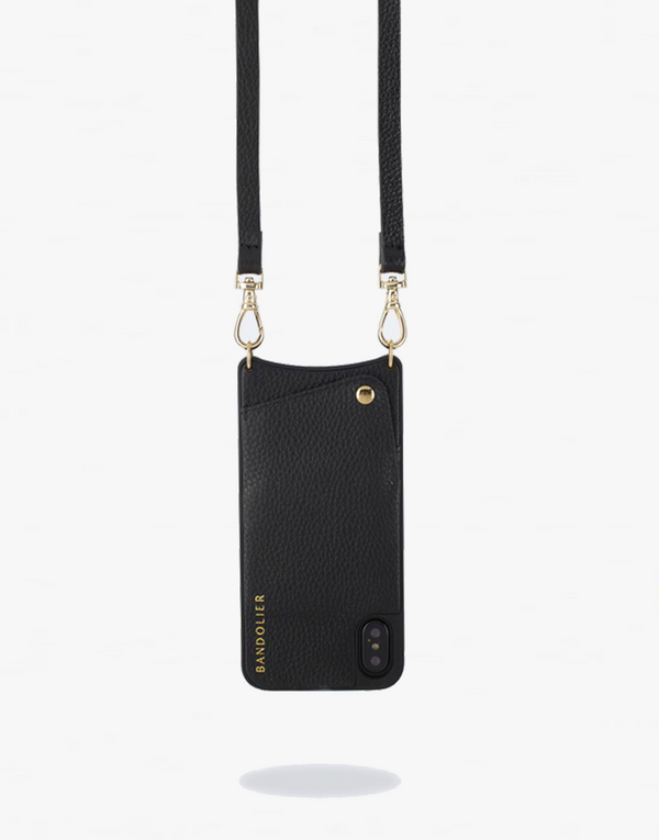 Designer Brand: Bandolier Product: Bandolier Emma Pebbled Leather iPhone Case in Black & Gold