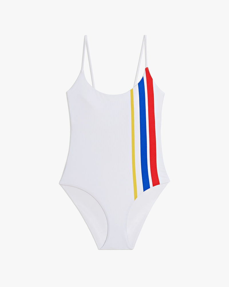 Designer Brand: Onia Product: Onia Gabriella One Piece Swimsuit - White Varsity Stripes