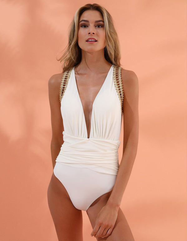 Designer Brand: Lily & Rose Product: Vendetta One Piece Swimsuit - Vanilla