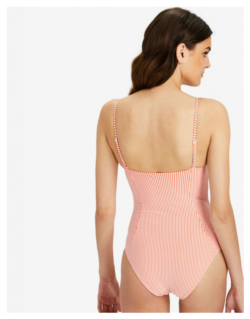 Designer Brand: Onia Product: Onia Isabella Underwire One Piece Swimsuit in Seersucker Stripes