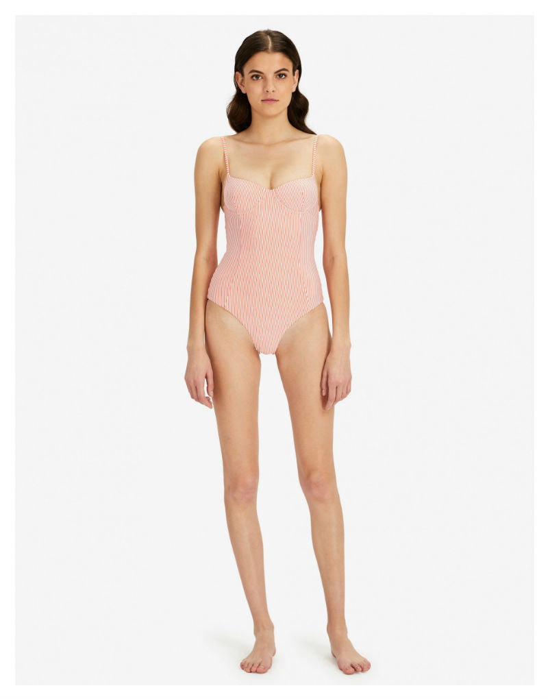 Onia Isabella Underwired One Piece Swimsuit - Seersucker Stripes