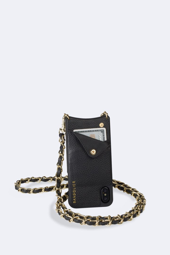 Designer Brand: Bandolier Product: Bandolier Lucy iPhone 6+ / 7+ / 8+ Crossbody Case & Chain Lanyard - Black Leather