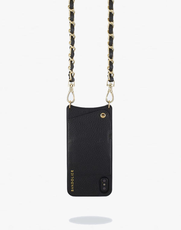 Designer Brand: Bandolier Product: Bandolier Lucy Pebbled Leather iPhone Case in Black & Gold