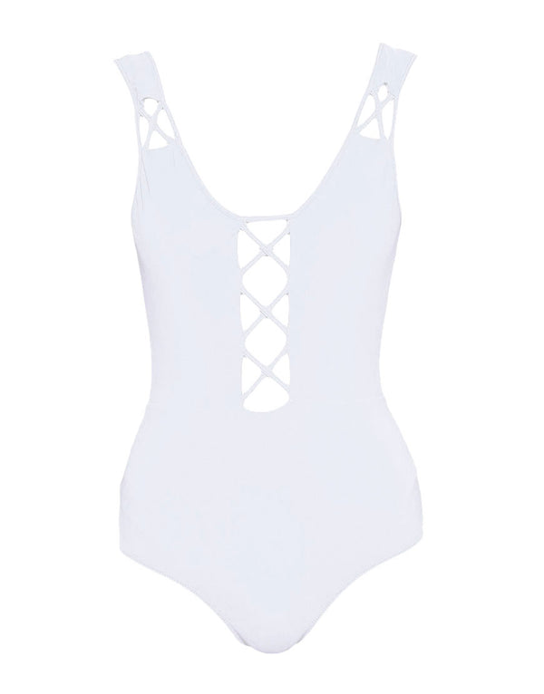Designer Brand: Mouille Product: Mouille Lattice White One Piece Swimsuit