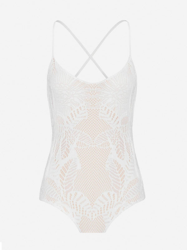Designer Brand: Mara Hoffman Product: Mara Hoffman Crochet White One Piece Swimsuit