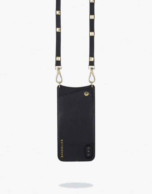 Designer Brand: Bandolier Product: Bandolier Sarah iPhone 6 / 7 / 8 Crossbody Case & Stud Lanyard - Black Leather