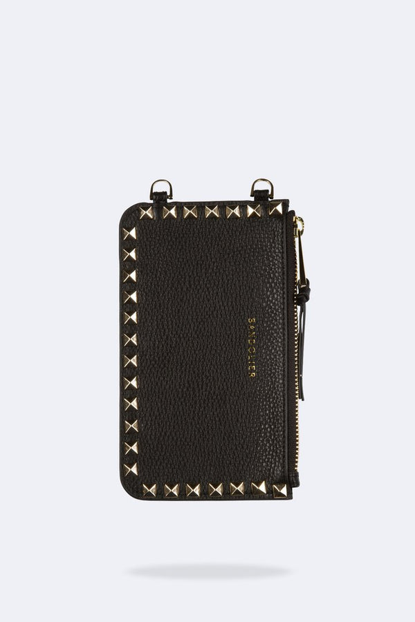 Designer Brand: Bandolier Product: Bandolier Sarah Pebbled Leather Pouch - Black & Gold Pyramid Studs