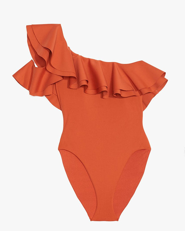 Designer Brand: Onia x WeWoreWhat Product: Onia x WeWoreWhat Stella One Shoulder Swimsuit - Rooibos