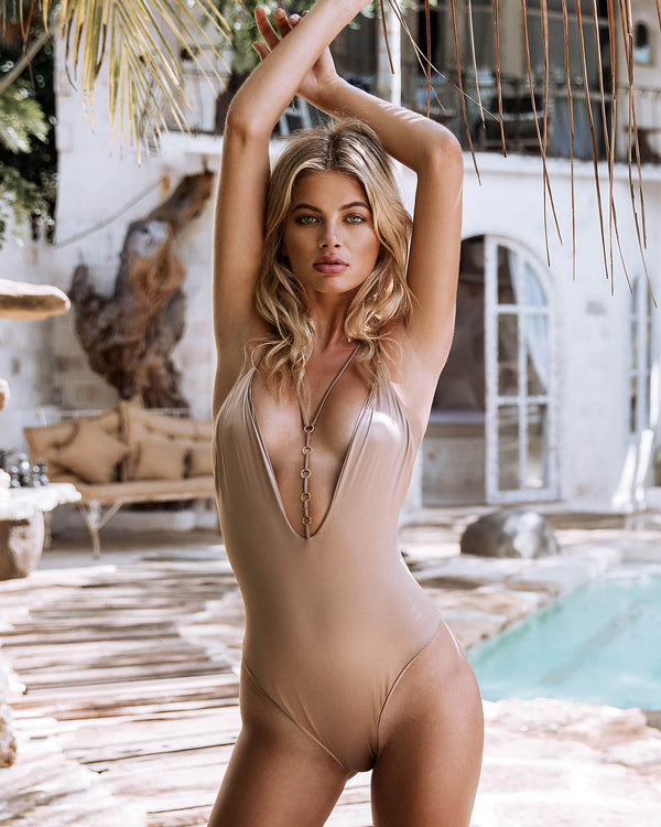 Designer Brand: Beach Bunny Product: Beach Bunny Ireland Ring Low Back One Piece Swimsuit in Brown Sugar