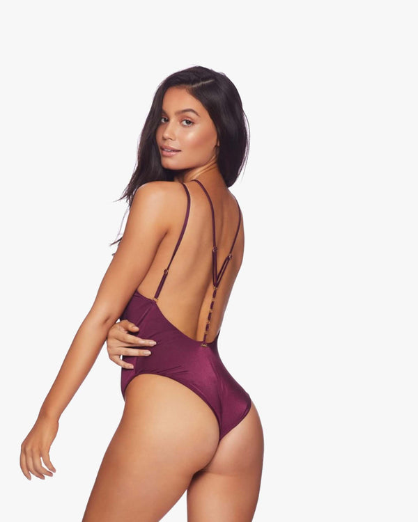 Designer Brand: Beach Bunny Product: Beach Bunny Ireland Backless One Piece Swimsuit Suit – Plum