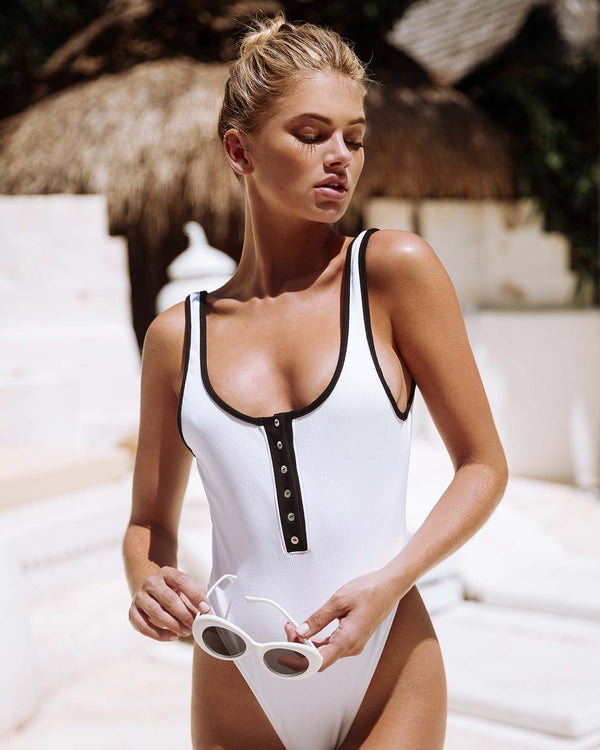 Designer Brand: Beach Bunny Product: Beach Bunny Presley Ribbed White One Piece Swimsuit