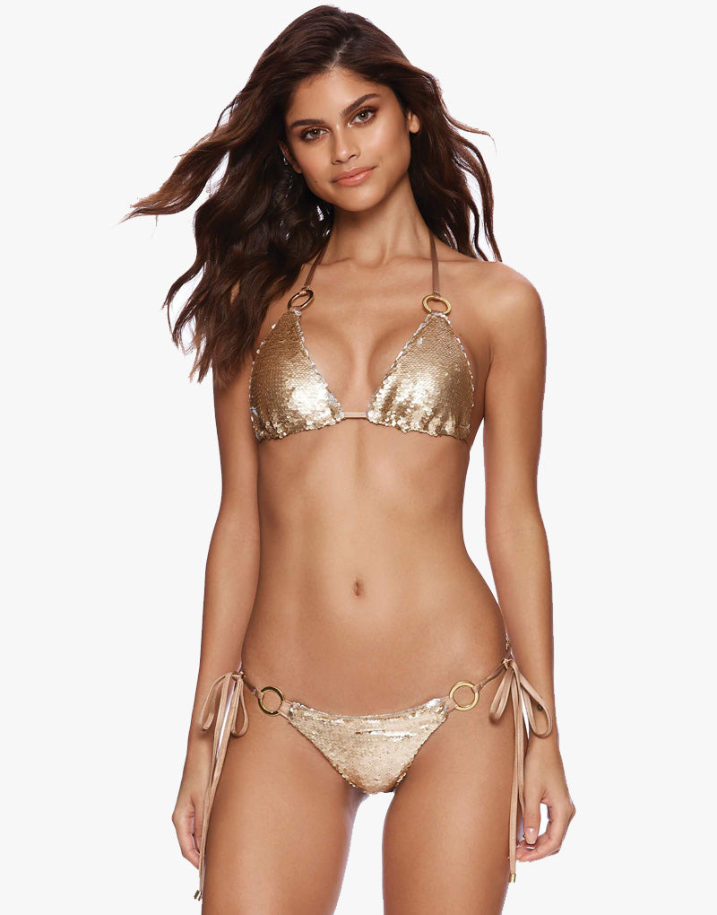Designer Brand: Beach Bunny Product: Beach Bunny Siren Song Sequin Triangle Top – Gold