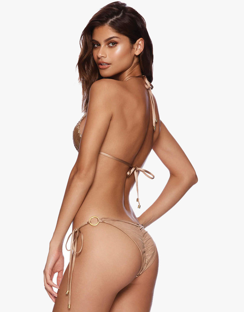 Designer Brand: Beach Bunny Product: Beach Bunny Siren Song Sequin Tie Side Bottom – Gold