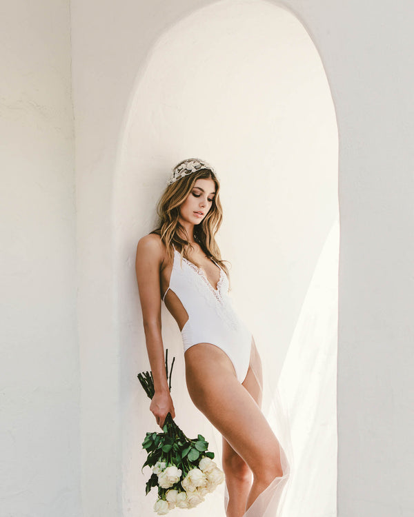 Designer Brand: Blue Life Product: Blue Life Bridal Mirage One Piece Swimsuit – White