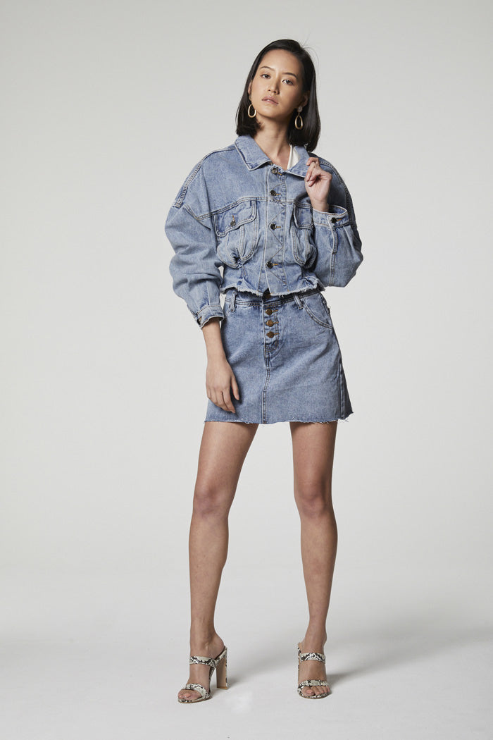 Designer Brand: Elliatt Product: Slate Denim Skirt