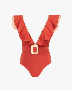 Designer Brand: Lily & Rose Product: Harper Belted One Piece Swimsuit - Chilli
