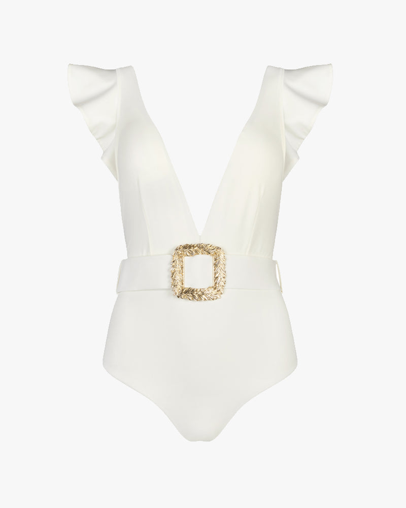Designer Brand: Lily & Rose Product: Helen Belted One Piece Swimsuit - Vanilla