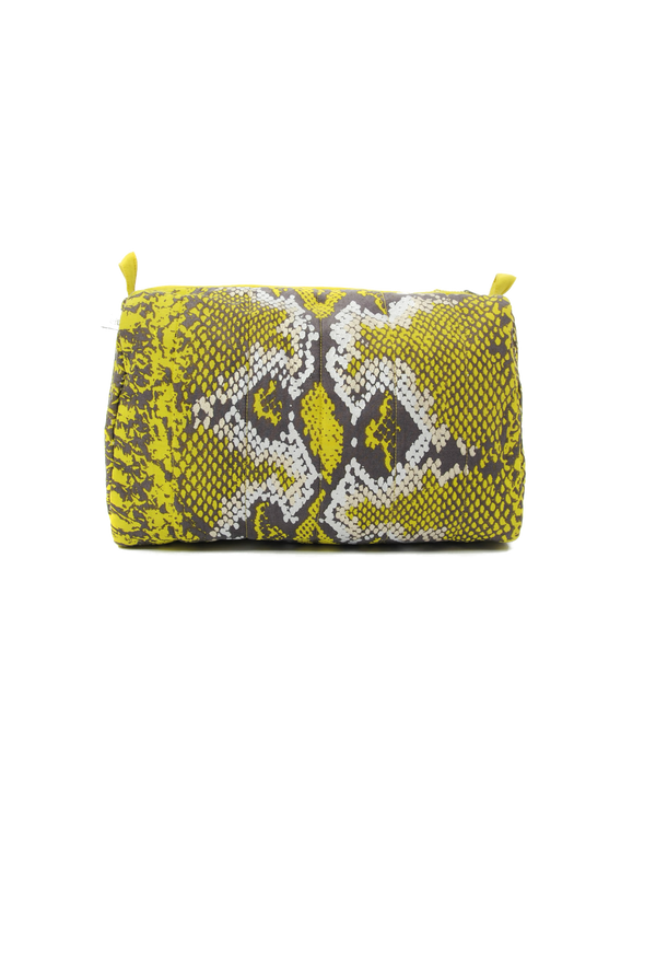 Designer Brand: Mercy Delta Product: Mercy Delta Python Lime Medium Cosmetic Bag - Travel Essentials