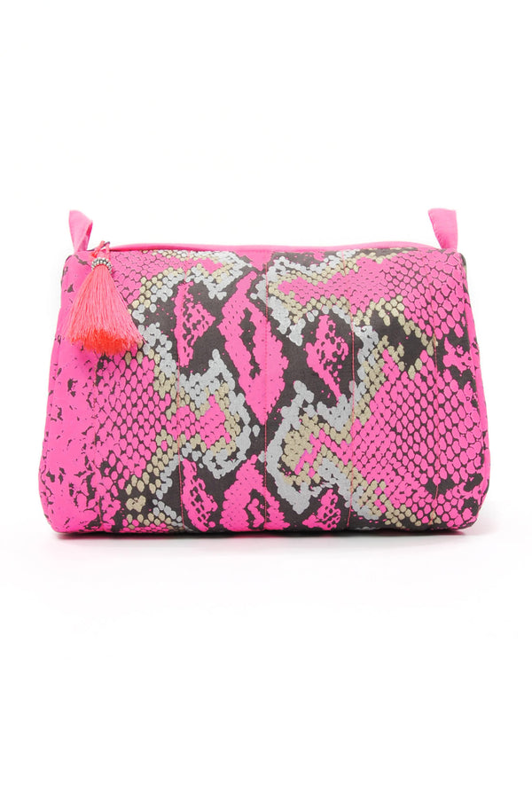 Designer Brand: Mercy Delta Product: Mercy Delta Python Pink Medium Cosmetic Bag - Travel Essentials