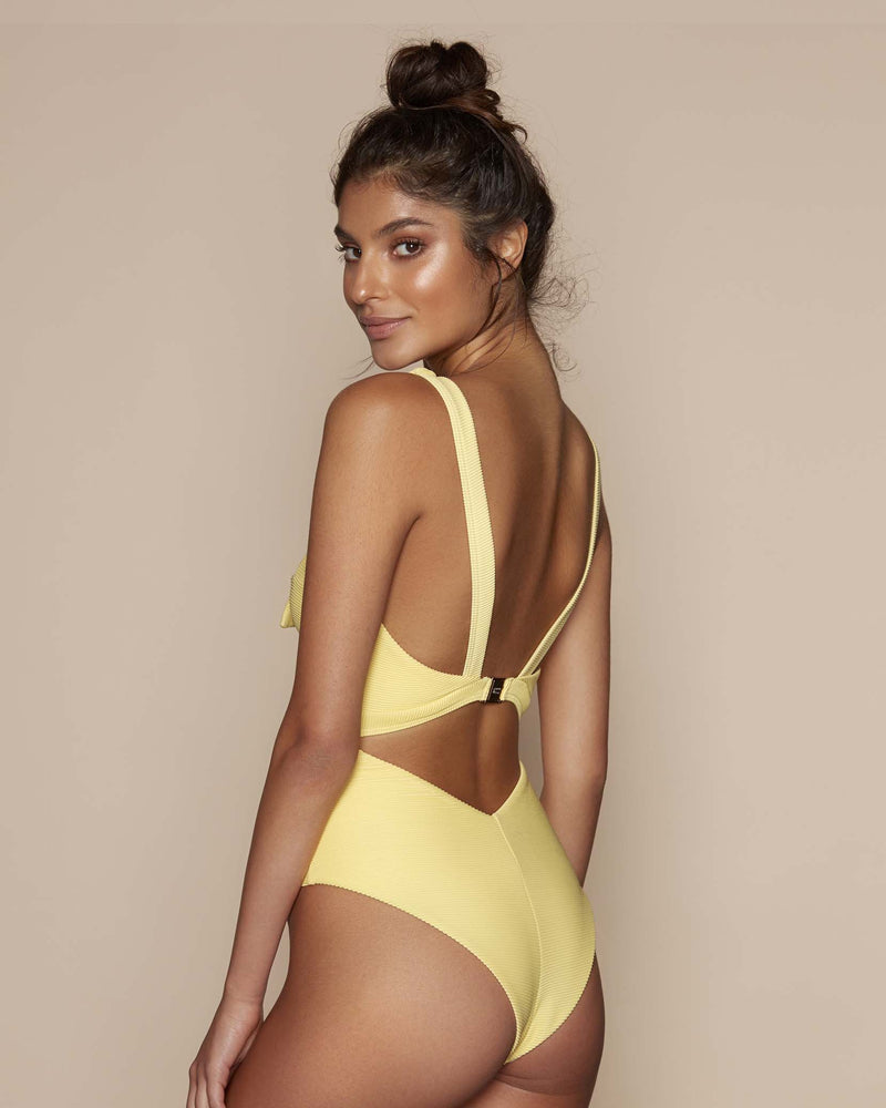 Designer Brand: Kopper & Zink Product: Kopper & Zink Gidget One Piece Swimsuit – Lemon