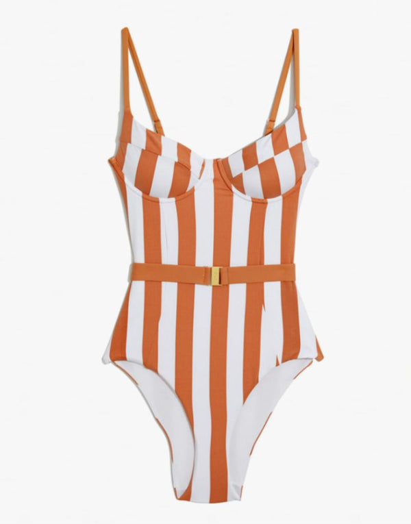 Onia x WeWoreWhat Danielle Underwire One Piece Swimsuit –Nude Stripe - by Designer Swimwear label Onia - PEEPING-T