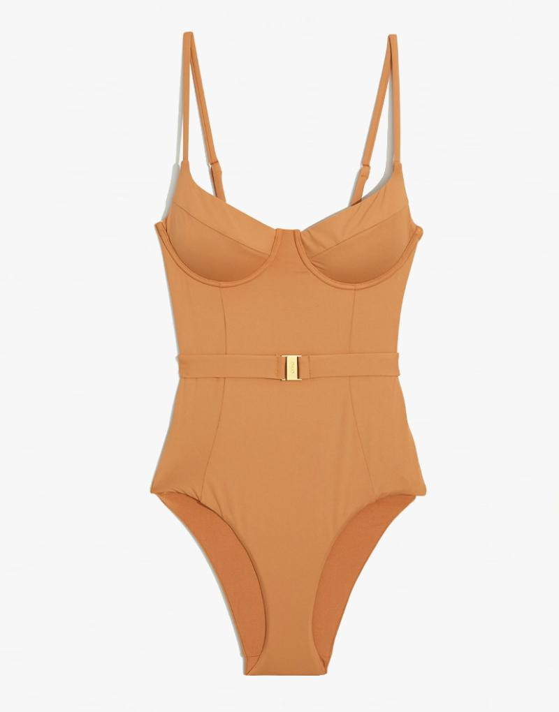 Onia x WeWoreWhat Danielle Belted One Piece Swimsuit in Nude