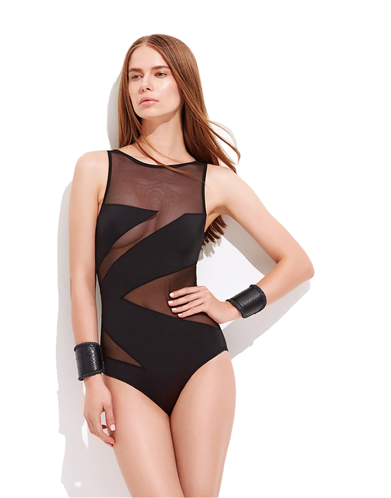 OYE Elizabeth Black Sheer Swimsuit