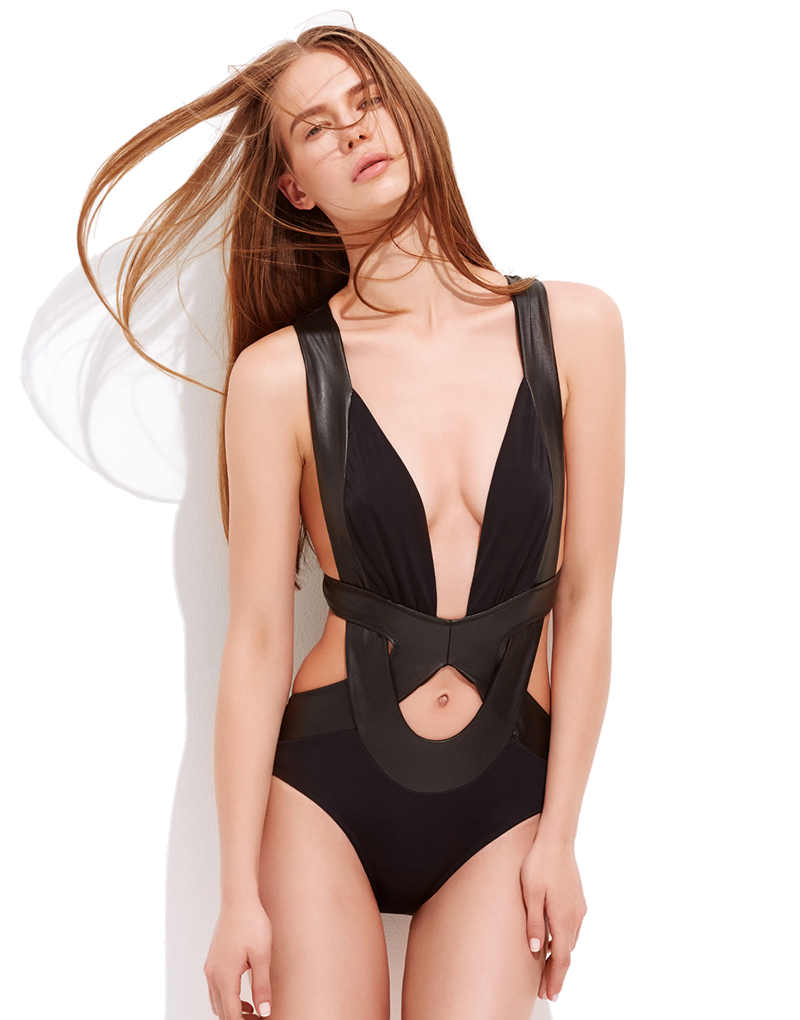 OYE Swimwear Mal Black Cut Out Swimsuit