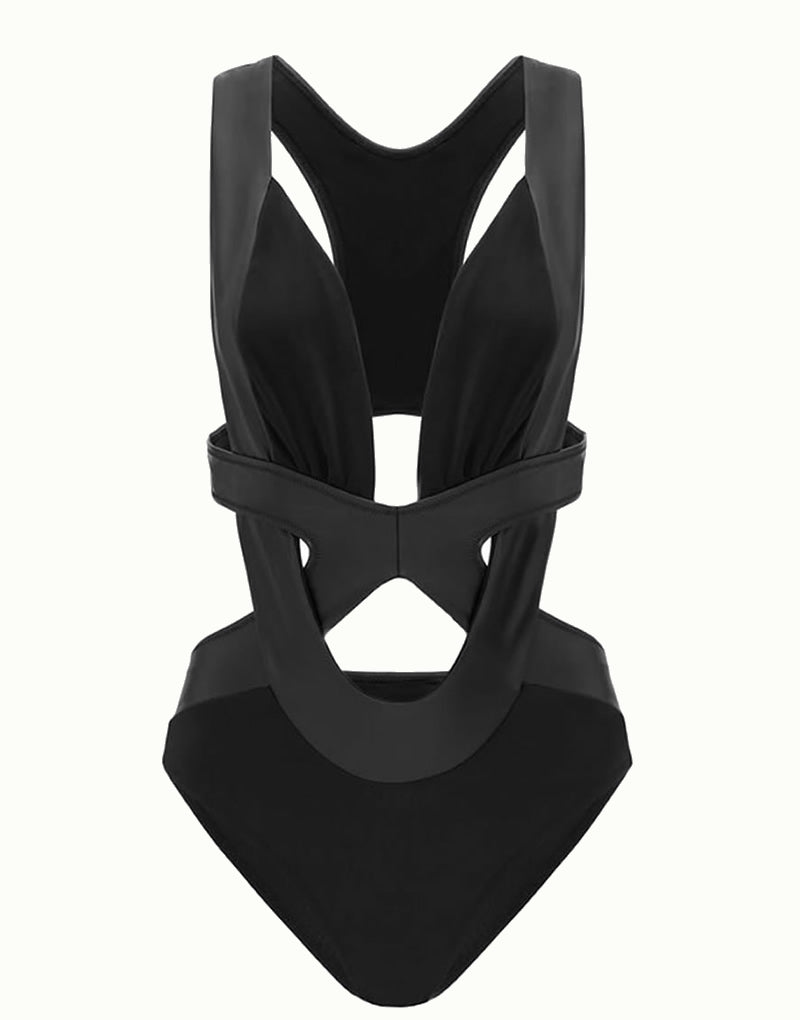 Designer Brand: OYE Product: OYE Swimwear Mal Black Cut Out Racer Back Swimsuit