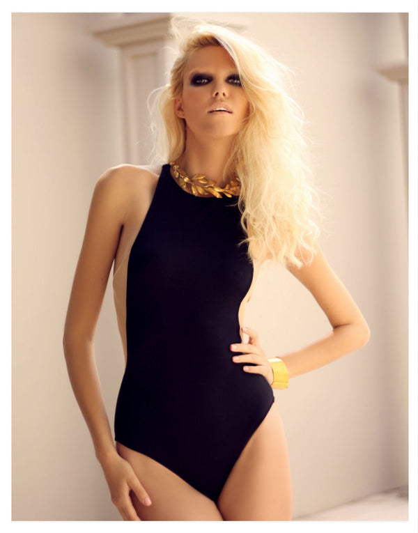 OYE Swimwear Stella Black One Piece Swimsuit - by Designer Swimwear label OYE Swimwear -  PEEPING-T