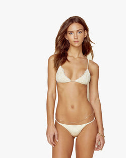 Designer Brand: Blue Life Product: Blue Life Bridal Seashell Lace Triangle Bikini Top - Pearl