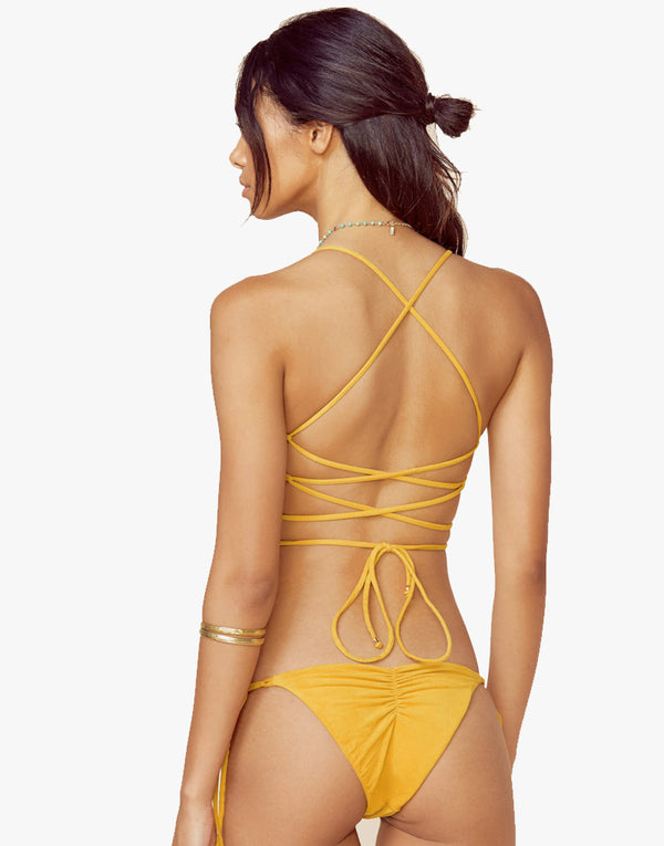 Designer Brand: Blue Life Product: Blue Life Soleil Velvet Tie Side Bikini Bottom - Sunrise Yellow