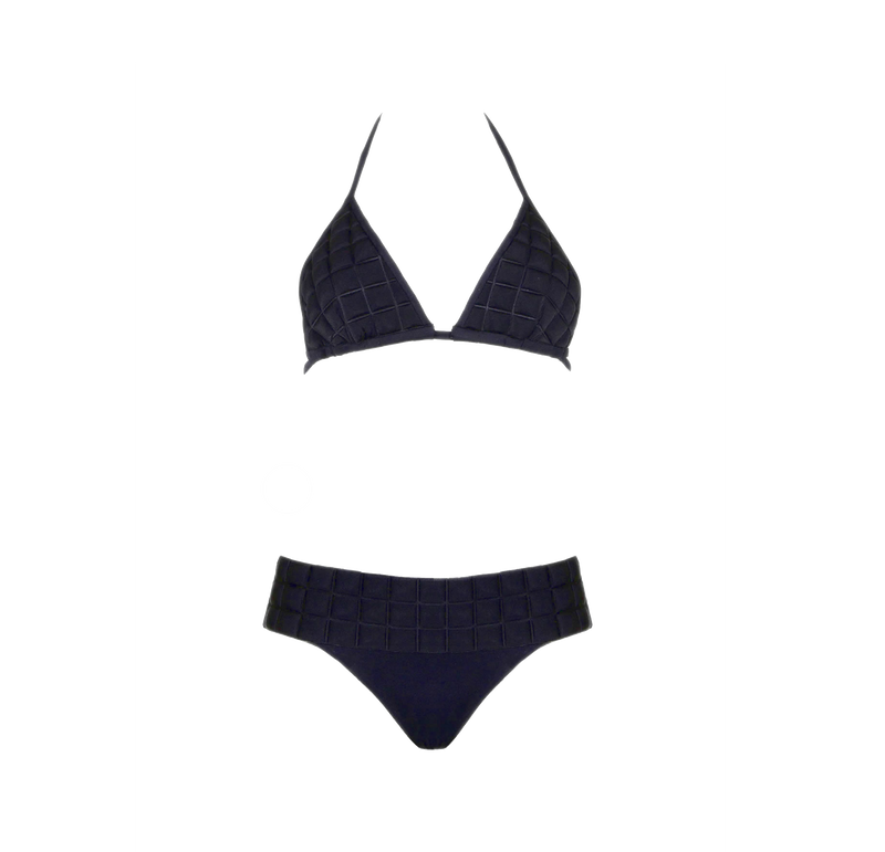 Designer Brand: Sumarie Product: Sumarie Space 3D Textured Black String Bikini Top & Bottom