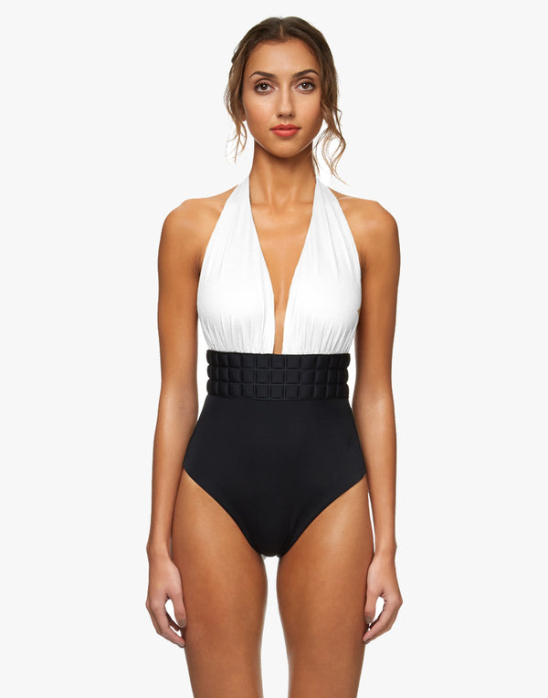 Sumarie Chrysler 3D Texture One Piece Swimsuit