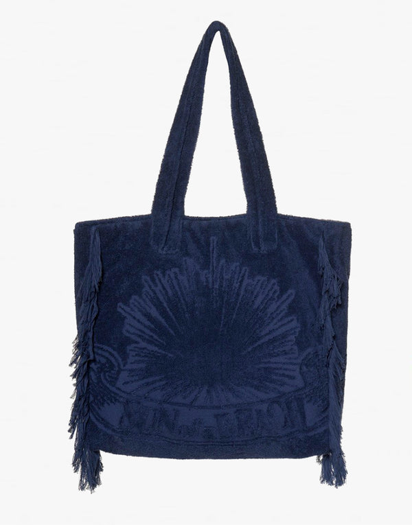 Sun of a Beach Navy Egyptian Cotton Towel Beach Bag - PEEPING-T