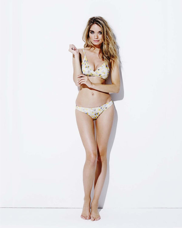 Designer Brand: Varley Product: Varley Anthea Yellow Feather Bikini Top & Bottom