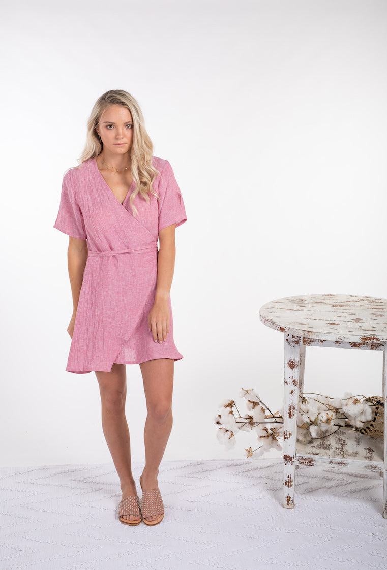 WILLOW DRESS - PINK LINEN
