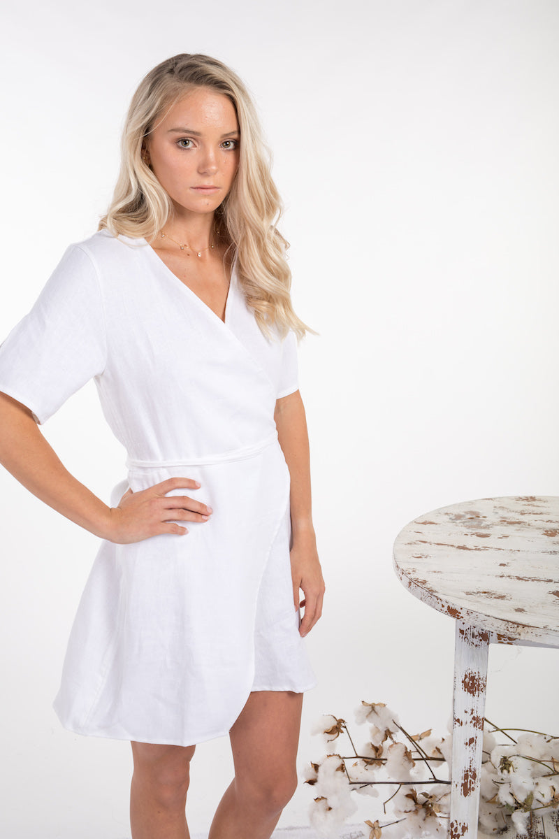 WILLOW DRESS - WHITE LINEN