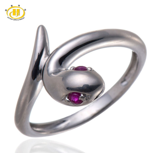 Solid 925 Sterling Silver Red Ruby Gemstone Snake Ring Women's