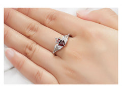 Solid 925 Sterling Silver 0.64ct Natural Garnet & White Topaz Ring Women's Gemstone Fine Jewelry