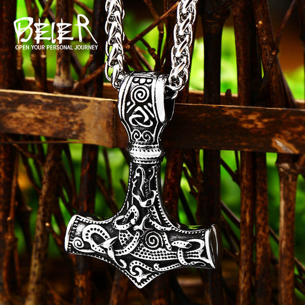 Beier Thor Hammer Mjolnir choker Viking Amulet Scandinavian pendant necklace Norse Men Unique christmas Jewelry BP8-261