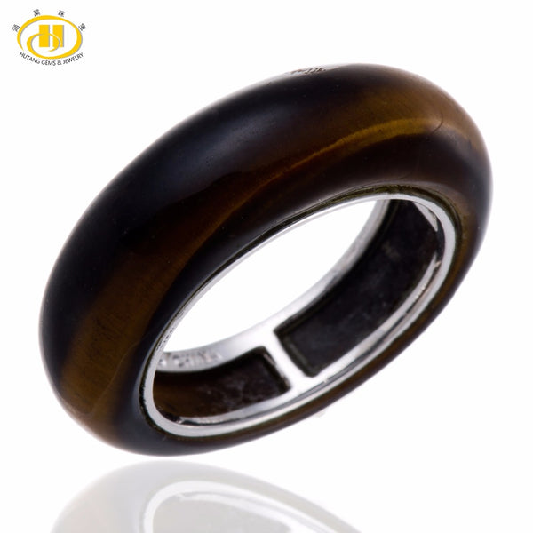 Tiger Eye Solid 925 Sterling Silver Band