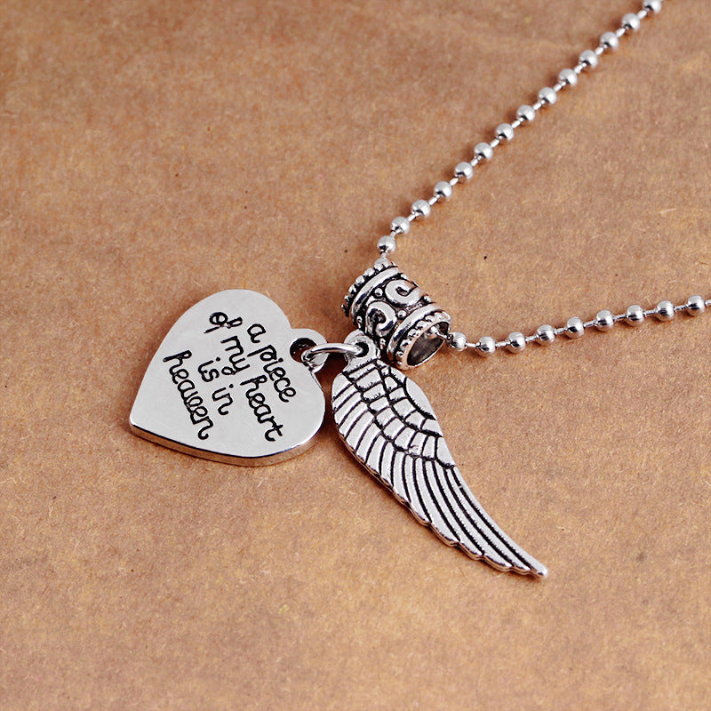 3952068b67e5d Angel Wing Lettering a piece of my heart is in heaven Heart Pendant  Necklaces Women Charms Necklace For Daughter Girlfriend Gift FNECK030