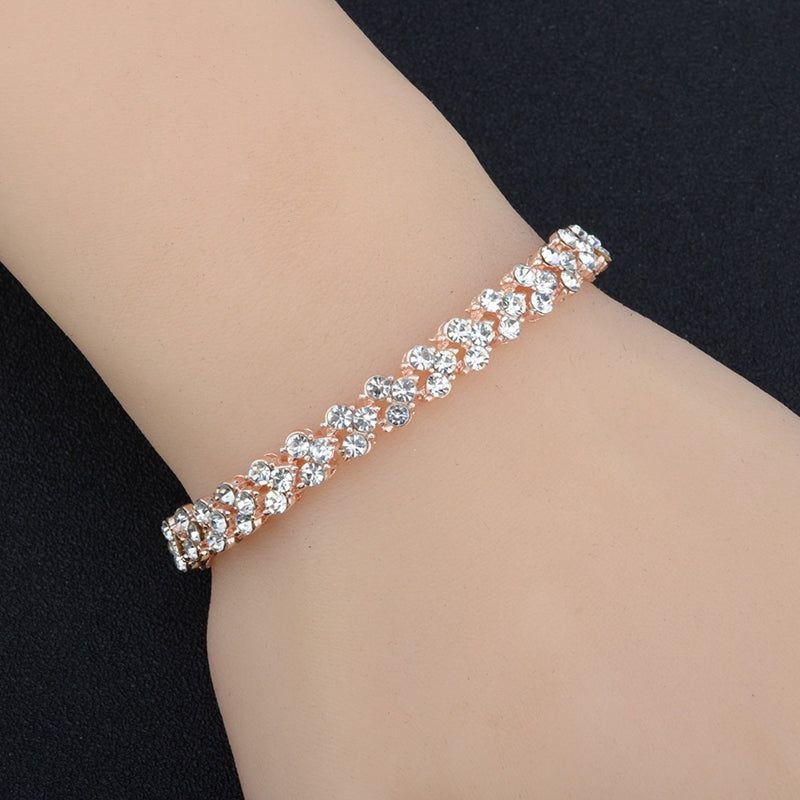 f37b5af2a90d Women Fashion Roman Style Woman Silver Plated Crystal Diamond Bracelets  Gifts XK130