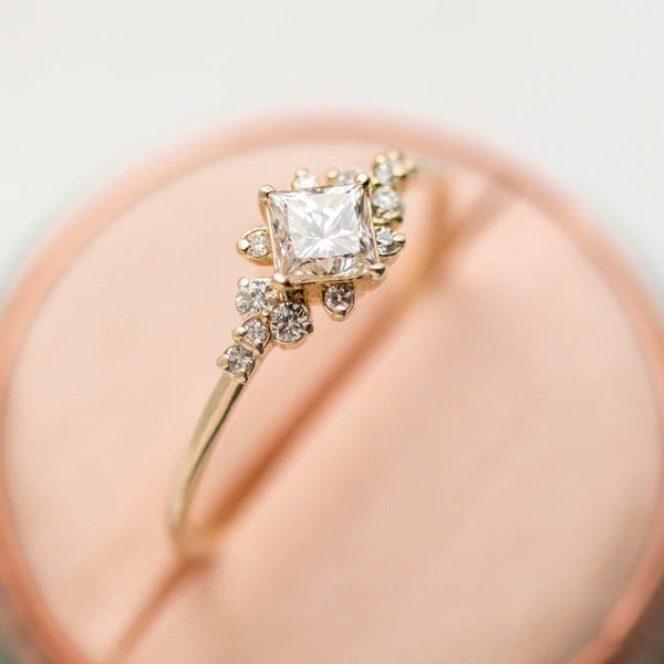 Small Simple Rings Rhinestone Bands Yellow Gold Engagement Thin Ring